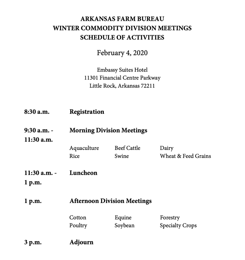 Commodity Meeting agenda image